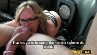 Elegant blonde in glasses flirts with cab driver