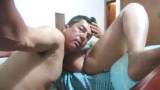 Horny spanish daddy eats her pussy