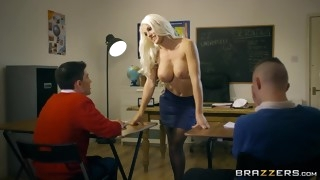 Kinky teacher seduces two students into a threesome