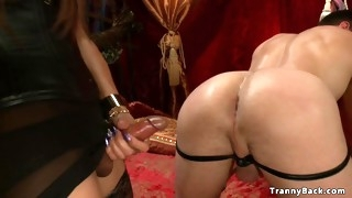 Tranny dominatrix ravages naked slave