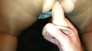 tied pantyhose wife. vibrator in ass, cock in pussy