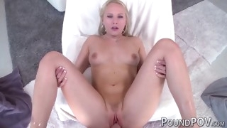 blonde with pink pussy and natural tits rides huge cock pov