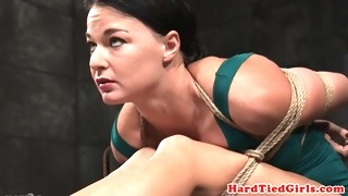 slave getting canned during kinky bondage
