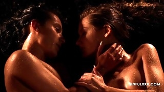 wet and sensual lesbian scene with two outrageous babes