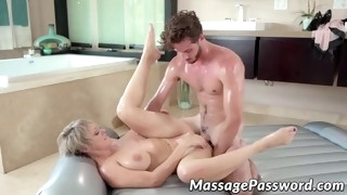 naughty milf seduces stepson into erotic nuru and hot sex