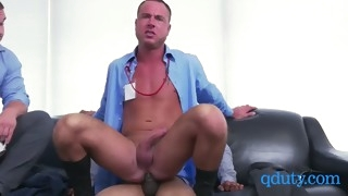 horny boss makes his two employees engage in gay sex