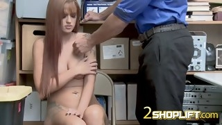 redhead scarlett is stripped down and banged hard by kinky officer