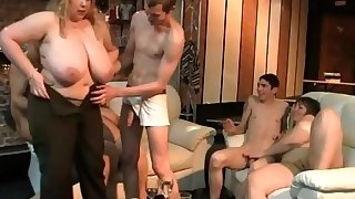 Big blonde rides and sucks cock at party